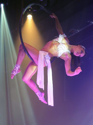 "Itzel Garcia performs on the rings during ""Cirque Le"