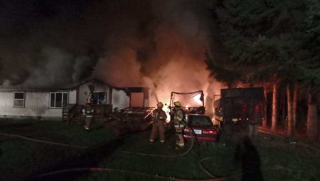 A motor home fire near Albany Wednesday morning.