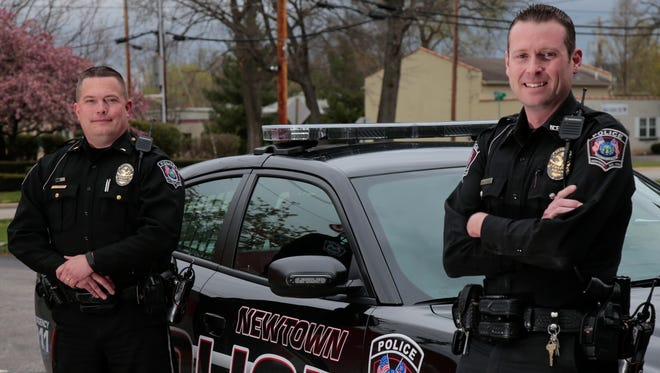 Detective Spencer Bischoff (right) and Lt. Shawn McBreen of the Newtown Police Department