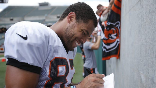 Cincinnati Bengals tight end C.J. Uzomah took The Enquirer on a Pokemon hunt around Paul Brown Stadium on a recent off day.