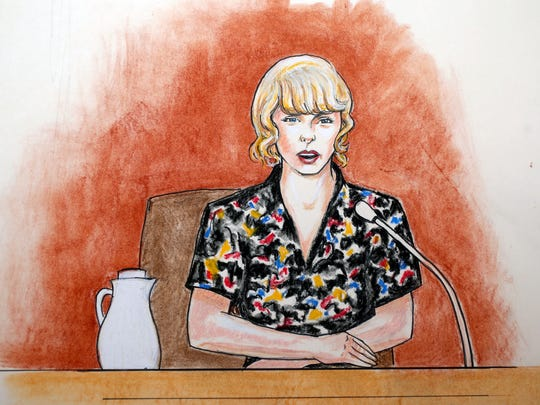 A courtroom sketch shows Taylor Swift speaking from the witness stand in Denver on Aug. 10, 2017, during the trial of a lawsuit between Swift and David Mueller, a former radio host she accuses of groping her.