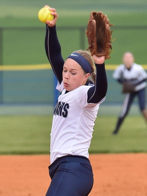 Sammie Bender pitches for Chambersburg during a softball