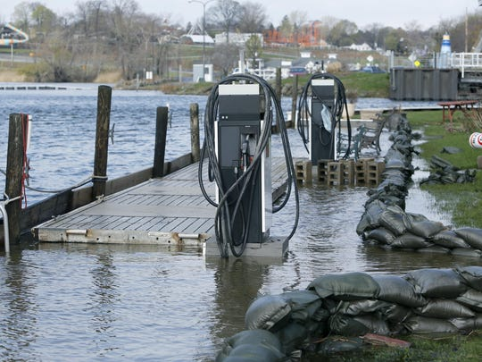 Sandbags can be seen here at Mayer's Marina in Webster