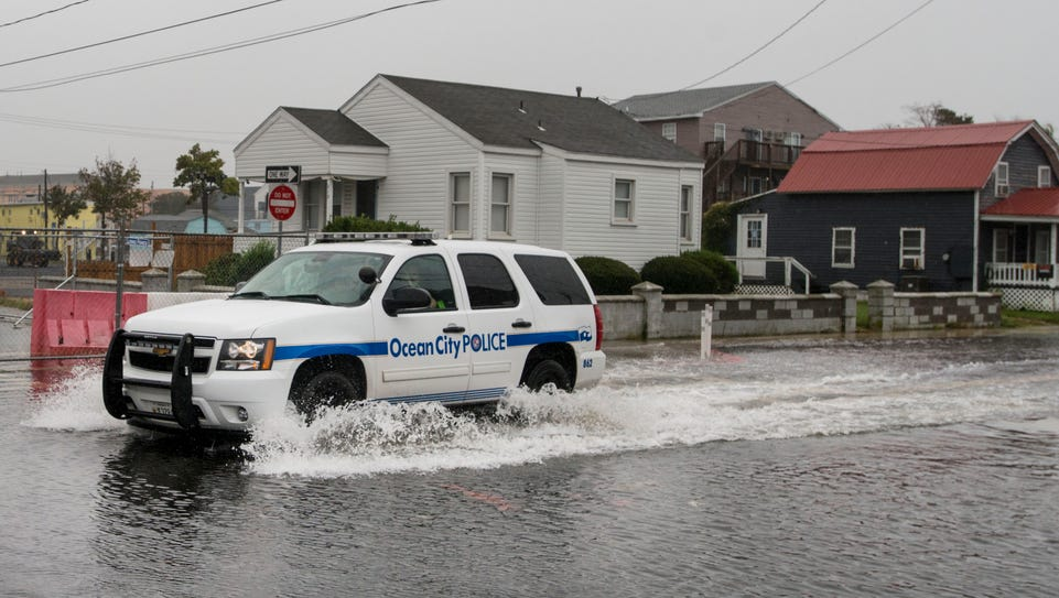 A Ocean City Police Department vehicle makes it's way
