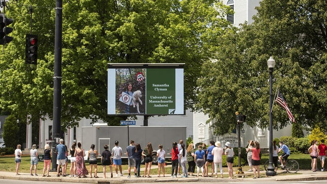 HOLDEN - Wachusett Regional High School honored the Class of 2020 with an LED board showing senior photos on the Town Common on Thursday.