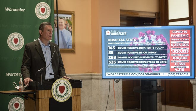 Worcester City Manager Ed Augustus gives an update on the number of positive cases during the COVID-19 press briefing at City Hall on Tuesday.