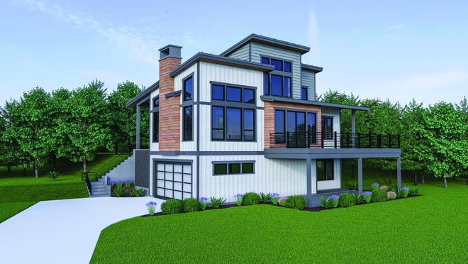 Clean lines and large windows deliver modern style to this contemporary design.