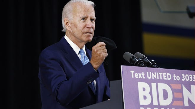 Democratic presidential candidate former Vice President Joe Biden speaks Tuesday  in Wilmington, Del.