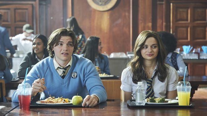 "Joel Courtney, left, and Joey King in a scene from ""The Kissing Booth 2."""