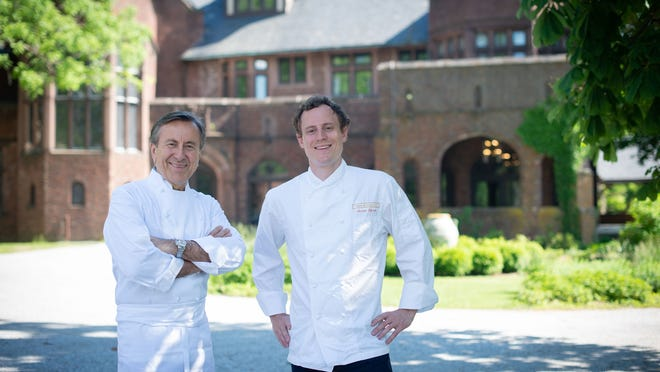 Michelin-starred chef Daniel Boulud, of Cafe Boulud New York, left, and  executive chef Jerrod Zifchak are operating a pop-up restaurant at Blantyre in Lenox until mid-October.