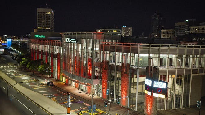 The DCU Center in Worcester, lighted red on Sept. 1 to raise awareness about the unemployment rate in the entertainment industry, lost over $1 million in fiscal 2020 and projects another $1.2 million loss through December.