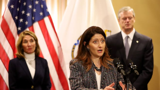 """We still have a lot of work to do on equity, but I hope this is a giant step forward,"" CCC Commissioner Britte McBride said. In a 2019 file photo, she is flanked by Lt. Gov. Karyn Polito on the left and Gov. Charlie Baker."