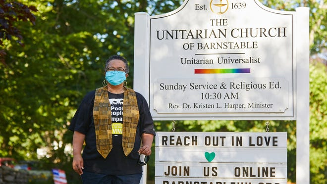 The Rev. Dr. Kristen Harper welcomes protesters as they arrive to the Unitarian Church of Barnstable for Juneteenth Stand Out for Racial Justice  on June 19.