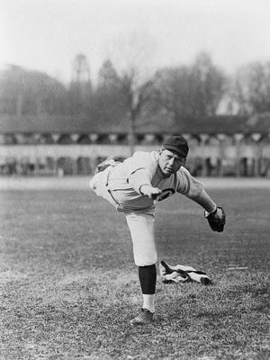Mordecai Brown's unique delivery. Photo courtesy of the Mordecai Brown Legacy Foundation.