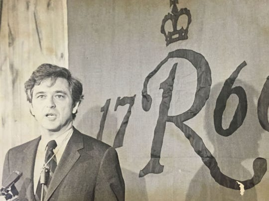 Former Rutgers president Edward Bloustein speaks in 1971, his first year on the job.