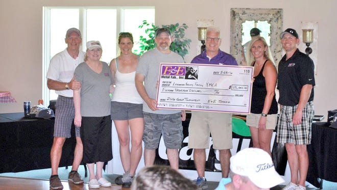 E&E Metal Fab., Inc had its annual golf tournament on May 28 at Royal Oaks and raised $15,000 for the Lebanon Family YMCA. From Left: Willie Erb, Linda Erb, Ann Erb, Steve Erb, Phil Tipon (YMCA), Liane Erb and Tom Erb