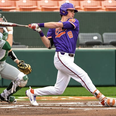 Clemson sophomore shortstop Logan Davidson (8) swings