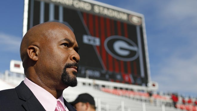 Georgia running backs coach Dell McGee at the Dawg walk before the start of a NCAA football game between Georgia and South Carolina in Athens, Ga., on Saturday, Oct. 12, 2019.