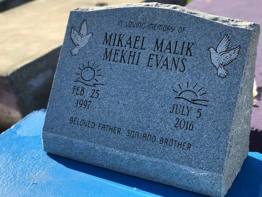 Mikael Malik Evans' headstone at Garden of Memories in Alexandria.