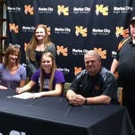 Madison McConnell signs with Albion College softball at Marine City High School.