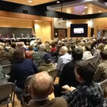 About 200 people attended a school candidate forum Wednesday night at Great Falls College Montana State University. Candidates, from left, are Dave Abbott, Cyndi Baker, Jason Brantley, Jan Cahill, Kate Hughes and Don Ryan. Candidate Jerry Hall couldn't make the forum.
