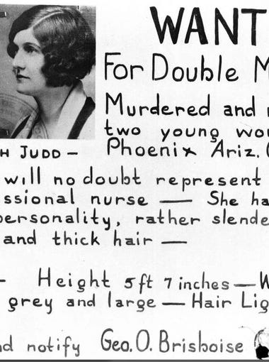 In 1931 Winnie Ruth Judd was being sought for the murder of her two roommates in Phoenix.  Photo: Arizona Memory Project/Murder&Mayhem: The Strange Sage of Winnie Ruth Judd