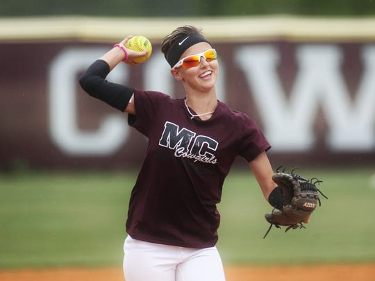 Madison County shortstop Laila Dickey practices for