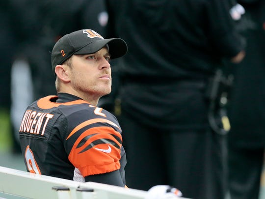 Cincinnati Bengals kicker Mike Nugent (2) watches a play from the bench during the second quarter of the NFL Week 8 International Series game between Washington and the Cincinnati Bengals at Wembley Stadium in London on Sunday, Oct. 30, 2016. At the end of the first half, the Bengals trailed 10-7.