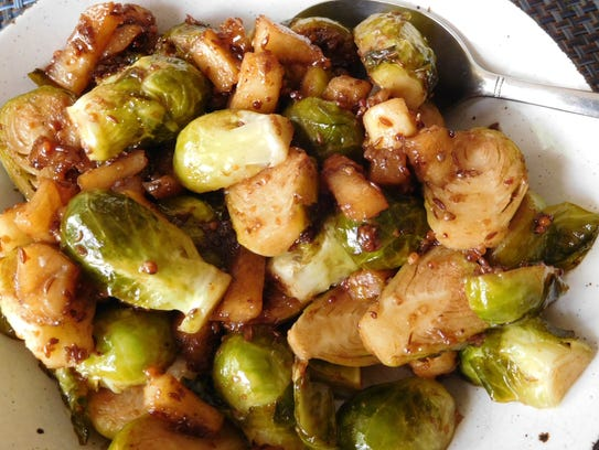 Glazed Brussels Sprouts with Apples, Grainy Mustard