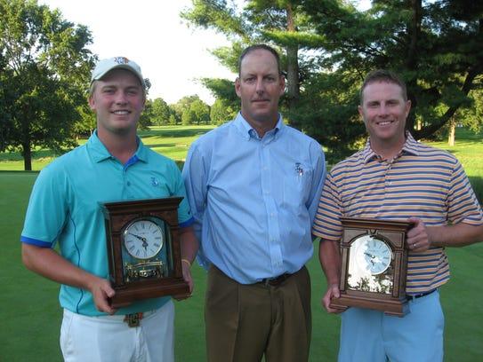 Noah Firestone, left, and Chris  Gebhard, far right,