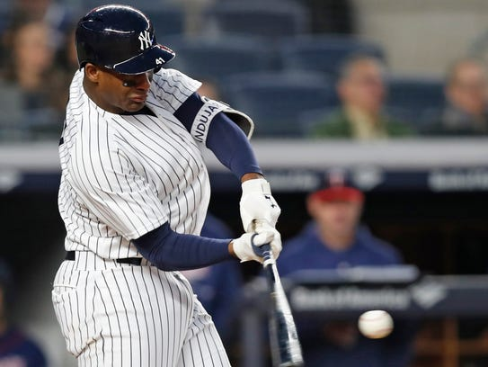 New York Yankees' Miguel Andujar hits a second-inning