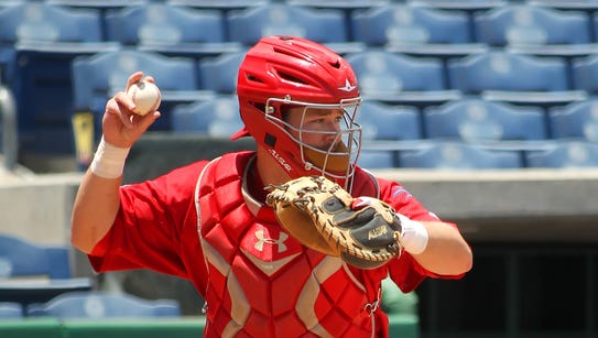 Andrew Knapp catches for the Clearwater Threshers in