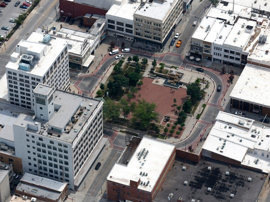 CNBC gave Missouri high marks for its low cost of doing business. Park Central Square and the Heers building from the air on Friday, June 9, 2018.