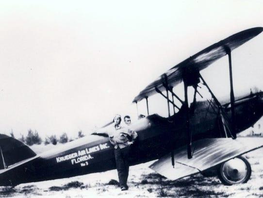 Krueger airplane service (Jim Reardon outside the plane,
