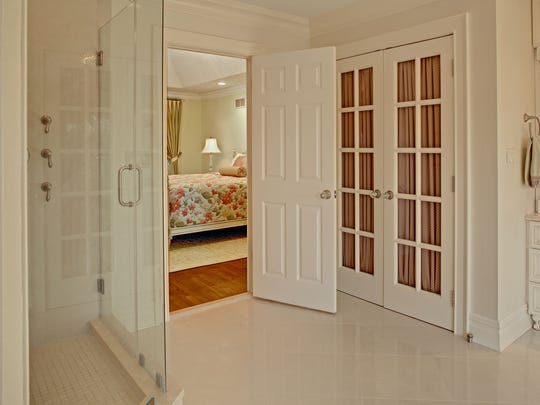 The French doors were repurposed, now enclosing the