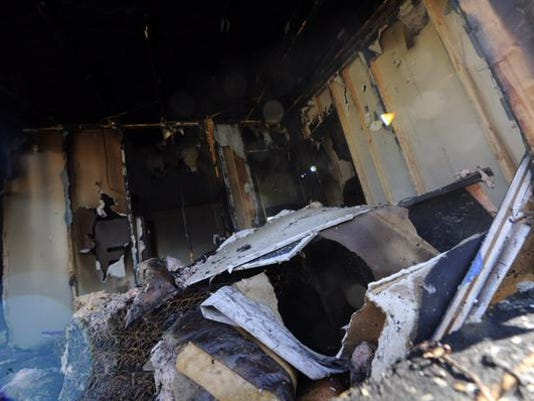 A fire damaged this mobile home in Jackson Township on Thursday night.