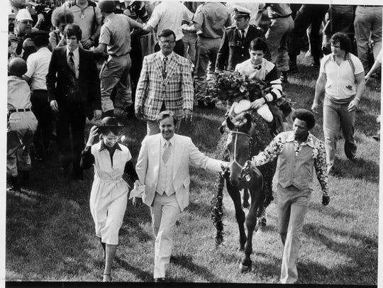 Karen and Mickey Taylor, Seattle Slew's co-owners,