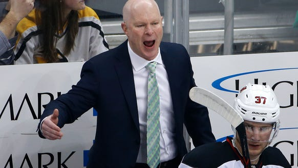 New Jersey Devils head coach John Hynes yells at a