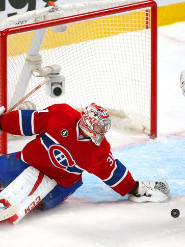 Montreal Canadiens goalie Carey Price makes a save