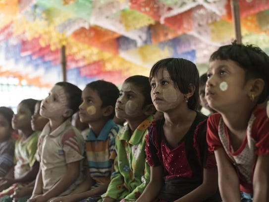Rohingya children in a day care center in Bumay village.