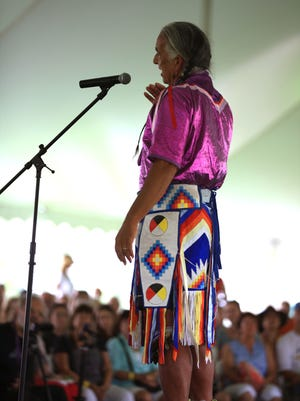 Kevin Locke taught the crowd certain songs and movements during the Native American Dance and Music Festival.