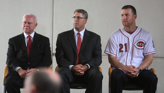 (Left to right) GM Walt Jocketty, manager Bryan Price and third baseman Todd Frazier in August as the Reds' 2015 All-Star game logo was revealed.