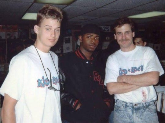 Kid Rock, Detroit rapper Esham and Record Time's Mike Himes at the Roseville store in 1990, when Kid Rock was briefly signed to Jive Records.