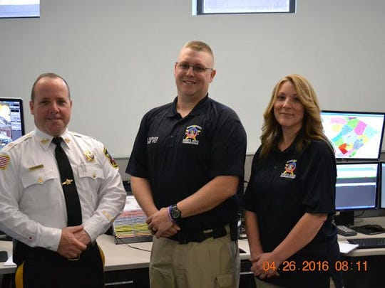 Sussex County Sheriff Michael Strada, left, with David Korver and Andrea Wehrenberg.
