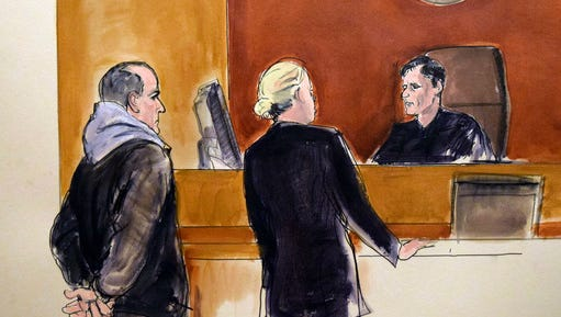 In this courtroom drawing, Elvis Redzepagic, left, appears before Magistrate Judge Robert Levy, right, Saturday, March 4, 2017 in New York, during his arraignment on charges that he attempted to provide material support to a foreign terrorist organization. Prosecutors say the New York man repeatedly traveled to the Middle East to try to join the Islamic State or al-Nusra Front extremist groups and told authorities he'd been prepared to sacrifice himself for jihad. In the center is federal defender Mildred Whalen.