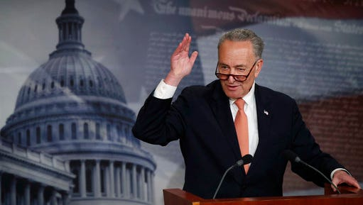 """In this Thursday, April 27, 2017, photo, Senate Minority Leader Chuck Schumer, of N.Y., speaks to reporters during a news conference on Capitol Hill in Washington. Schumer says the $1 trillion plan funding the government through September is a """"good agreement for the American people, and takes the threat of a government shutdown off the table."""""""