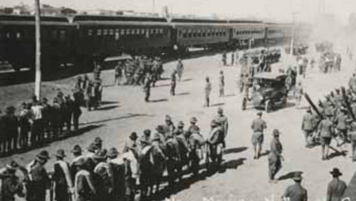 New Mexico National Guard arriving at Columbus, New Mexico.
