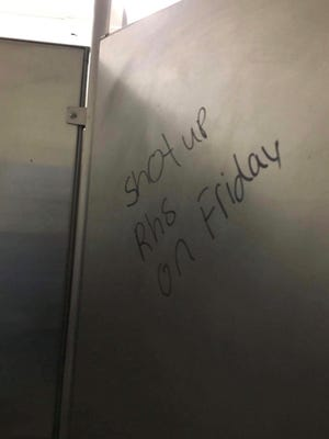 A threating statement was found at lunchtime on the wall of a campus restroom, said Michel Lambert, Visalia Unified School District director of student services.