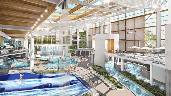 A rendering shows the indoors component of the Soundwaves water park that Ryman Hospitality is building at its Opryland complex.