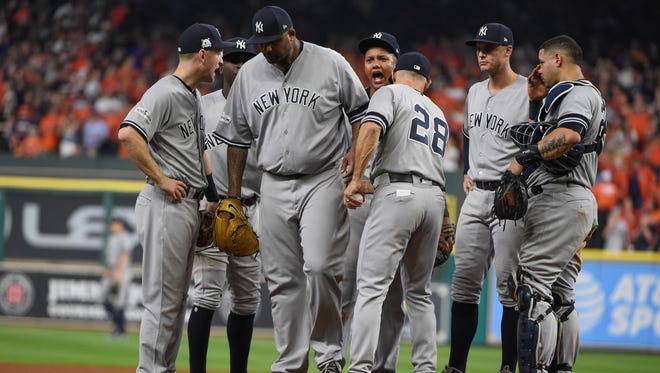 New York Yankees starting pitcher CC Sabathia is taken out of the game during the fourth inning of Game 7 of baseball's American League Championship Series against the Houston Astros Saturday, Oct. 21, 2017, in Houston.